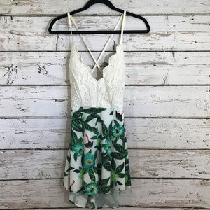 Choies Palm Print Lace Backless Romper